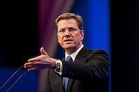 17 JAN 2009, BERLIN/GERMANY:<br /> Guido Westerwelle, FDP Bundesvorsitzender, haelt eine Rede, Europaparteitag der FDP, Estrel Convention Center<br /> IMAGE: 20090117-01-062<br /> KEYWORDS: party congress, speech