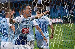 Stefan Gartenmann (SønderjyskE) jubler efter målet til 0-2 under finalen i Sydbank Pokalen mellem AaB og SønderjyskE den 1. juli 2020 i Blue Water Arena, Esbjerg (Foto Claus Birch).
