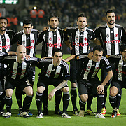 Besiktas's players (Left to Right) (Front Row) Ricardo Quaresma, Fabian Ernst, Roberto Hilbert, Ekrem Hayyam Dag, Ibrahim Toraman, (Back Row) (Left to Right) Manuel Fernandes, Ismail Koybasi, Egemen Korkmaz, Tomas Sivok, Hugo Almedia, goalkeeper Cenk Gonen during their UEFA Europa League Group Stage Group E soccer match Maccabi Tel Aviv between Besiktas at Bloomfield stadium in Tel Aviv Israel on Thursday December 01, 2011. Photo by TURKPIX