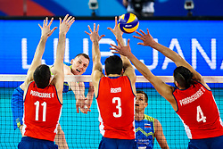 Toncek Stern of Slovenia vs Vicente Parraguirre of Chile, Gabriel Araya of Chile and Tomas Parraguirre of Chile during volleyball match between Slovenia and Chile in Group A of FIVB Volleyball Challenger Cup Men, on July 3, 2019 in Arena Stozice, Ljubljana, Slovenia. Photo by Matic Klansek Velej / Sportida