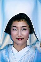 Japanese bride in traditional Shinto wedding dress, Shimogamo Shrine, Kyoto, Japan