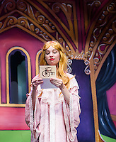 Rebecca Tucker as Aurora receives a party invitation during dress rehearsal for Sleeping Beauty at the Winnipesaukee Playhouse on Tuesday afternoon.  (Karen Bobotas/for the Laconia Daily Sun)