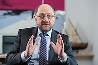 27 FEB 2017, BERLIN/GERMANY:<br /> Martin Schulz, SPD, desig. Parteivorsitzender und Kanzlerkandidat, waehrend einem Interview, in seinem Beuro, Willy-Brandt-Haus<br /> IMAGE: 20170227-01-025