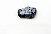 Cutout of a Snowflake Obsidian gemstone on white background
