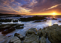 Sunset along Pebble Beach, California.