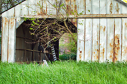 An old abandoned barn sits on a seldom used barn lot in Illinois is in danger of completely falling in.
