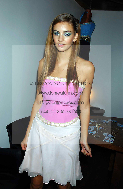 MISS ROSE HANBURY  at a party to view the designs of Jessica Simon at the beginning of London Fashion Week held at The Electric Cinema, Portabello Road, London on 19th September 2004.<br /><br />NON EXCLUSIVE - WORLD RIGHTS