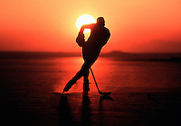 May 22, 2002:  Former NHL Boston Bruins ice hockey player Ralph Barahona skates into sunset. Roller Hockey and Inline Skating is a hot sport in 2002. Kids, women, adults are playing in leagues throughout the United States and Canada that play year around.  Barahona plays for the RHI Los Angeles Blades inline hockey team. .