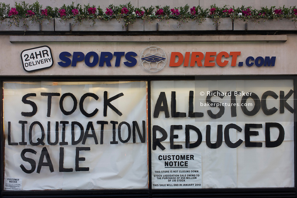 An all reduced sale of sports clothing supplier JJB.com stock, being sold by new buyer, Sports Direct shop in central London. JJB Sports has collapsed into administration, with arch-rival Sports Direct acquiring 20 stores. KPMG partners Brian Green, David Costley-Wood and Richard Fleming were appointed administrators before Sports Direct bought the JJB assets for £23.77m.