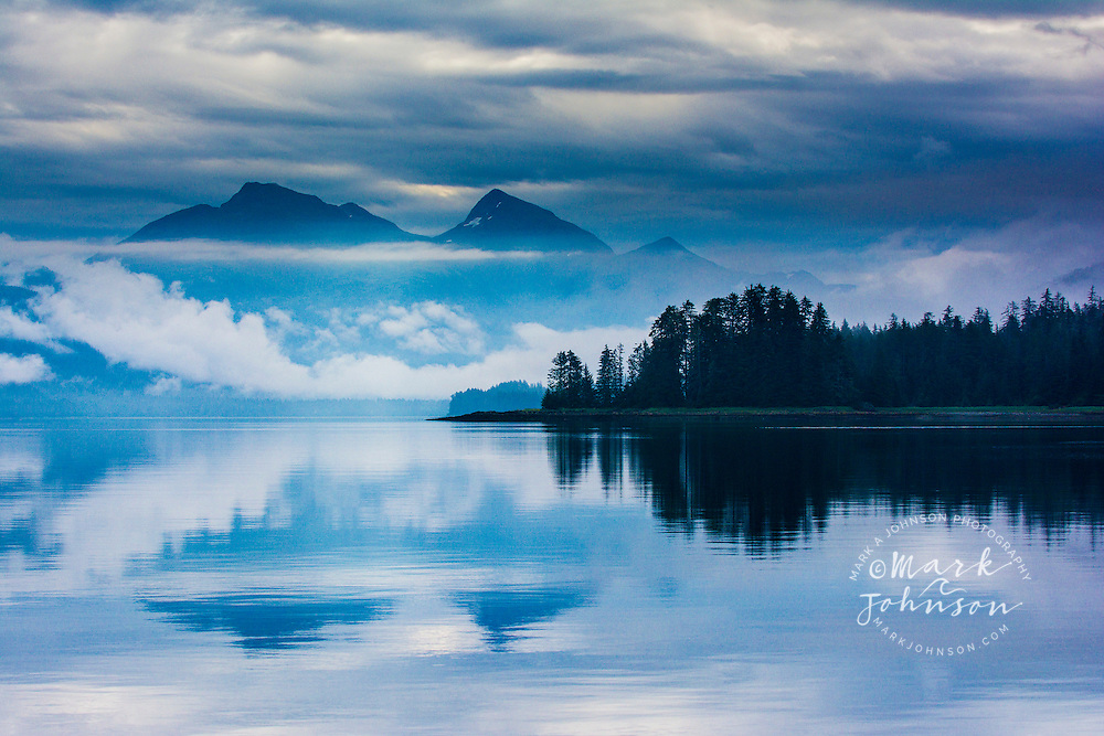 The misty mountains and calm seas of the Tongass National Forest, Alexander Archipelago, Southeast Alaska, USA