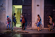 Wi-Fi users in one of the public positions for internet use. Havana Cuba. April / 2018.