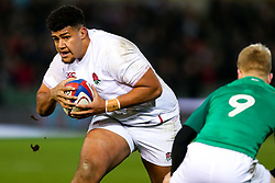 Rusiate Tuima of England U20 is tackled by Lewis Finlay of Ireland U20 - Rogan/JMP - 21/02/2020 - Franklin's Gardens - Northampton, England - England U20 v Ireland U20 - Under 20 Six Nations.