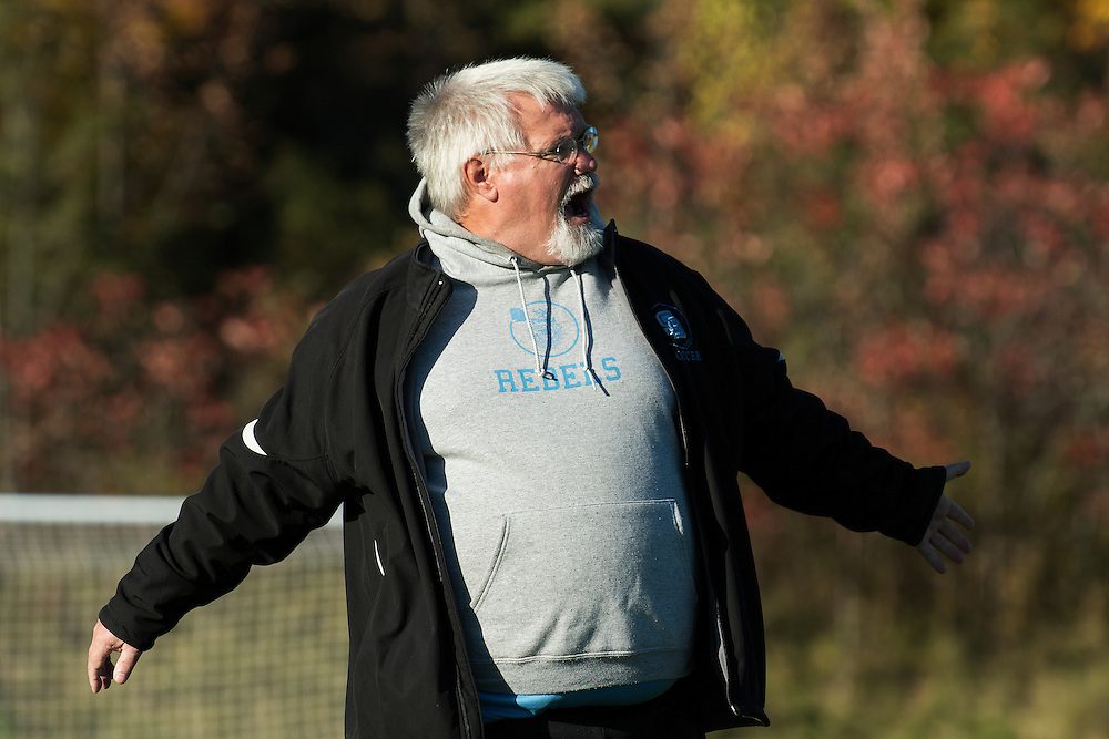 South Burlington head coach David Martin during the boys high school soccer game between the South Burlington Rebels and the Champlain Valley Union Redhawks at CVU High School on Monday afternoon October 10, 2016 in Hinesburg. (BRIAN JENKINS/for the FREE PRESS)