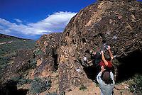 Crystal Winn and Chris Muzillo bouldering at the Sad Boulders; Bishop, CA<br />
