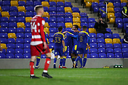 GOAL 2-1 during the EFL Sky Bet League 1 match between AFC Wimbledon and Doncaster Rovers at Plough Lane, London, United Kingdom on 3 November 2020. The first League match at the new stadium.