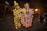 March 19th, 2013, Mardi Gras Indians on St. Joseph's Day at night on the streets of New Orleans uptown neighborhood.