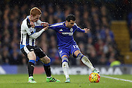 Jack Colback of Newcastle United challenges Pedro of Chelsea .Barclays Premier league match, Chelsea v Newcastle Utd at Stamford Bridge in London on Saturday 13th February 2016.<br /> pic by John Patrick Fletcher, Andrew Orchard sports photography.