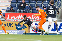 Falkirk's Nathan Austin brought down by Dundee United's Mark Durnan for a penalty claim. Falkirk 3 v 0 Dundee United, Scottish Championship game played 11/2/2017 at The Falkirk Stadium.