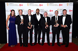 David Haye (centre) presents the award for Best Sport for The Open in the press room at the Virgin TV British Academy Television Awards 2017 held at Festival Hall at Southbank Centre, London. PRESS ASSOCIATION Photo. Picture date: Sunday May 14, 2017. See PA story SHOWBIZ Bafta. Photo credit should read: Ian West/PA Wire