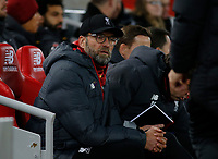 Football - 2019 / 2020 Premier League - Liverpool vs. Everton<br /> <br /> Liverpool manager Jurgen Klopp before the kick off, at Anfield.<br /> <br /> COLORSPORT/ALAN MARTIN