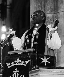 The most Rev Desmond Tutu, Archbishop of Cape Town, preaching at Holy Trinity Church, Hull. Archbishop Tutu was later made an Honorary Freeman at the City's Guildhall.