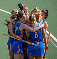 AMSTELVEEN -  Caia Van Maasakker (Ned) heeft gescoord tijdens  de halve finale dames wedstrijd , Nederland-Belgie (3-1),  bij het EK hockey. Nederland plaatst zich voor de finale.   COPYRIGHT KOEN SUYK