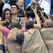 Swimming - Olympics: Day 4  Michael Phelps's son Boomer is photographed as Michael Phelps visits his son and finance Nicole Johnson in the stands after the gold medal presentation for winning the Men's 200m Butterfly Final during the swimming competition at the Olympic Aquatics Stadium August 9, 2016 in Rio de Janeiro, Brazil. (Photo by Tim Clayton/Corbis via Getty Images)