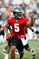 Philadelphia Eagles quarterback Donovan McNabb #5 during the Philadelphia Eagles NFL training camp in Bethlehem, Pennsylvania at Lehigh University on Saturday August 1st 2009. (Photo by Brian Garfinkel)