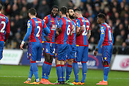 Emmanuel Adebayor of Crystal Palace (2nd left) lines up the wall with his capt Mile Jedinak (3rd right) but they can't stop the opening free kick scored by Gylfi Sigurdsson . Barclays Premier league match, Swansea city v Crystal Palace at the Liberty Stadium in Swansea, South Wales on Saturday 6th February 2016.<br /> pic by Andrew Orchard, Andrew Orchard sports photography.