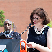 Patience Jones, KC streetcar advocate, speaking at the streetcar groundbreaking ceremony on May 22, 2014.