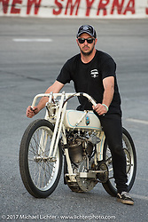 Australian Brook James on his 1924 Harley-Davidson racer built by Matt Walksler at Billy Lane's Sons of Speed vintage motorcycle racing during Biketoberfest. Daytona Beach, FL, USA. Saturday October 21, 2017. Photography ©2017 Michael Lichter.