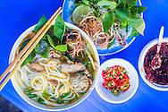 A bowl of 'Bun bo Hue' served in O Xuan Restaurant, 3 Quang Trung, Hoan Kiem, Hanoi, Vietnam, Southeast Asia