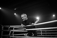 Ultimate bare-Knuckle boxing competition at Manchester's Bowlers Exhibition Centre, Old Trafford, Manchester, UK.<br /> Photo shows referee Shaun Smith, who also runs the Ultimate Bare-Knuckle Boxing (UBKB), a bare-knuckle boxing company based in Warrington. <br /> Photo ©Steve Forrest/Workers' Photos