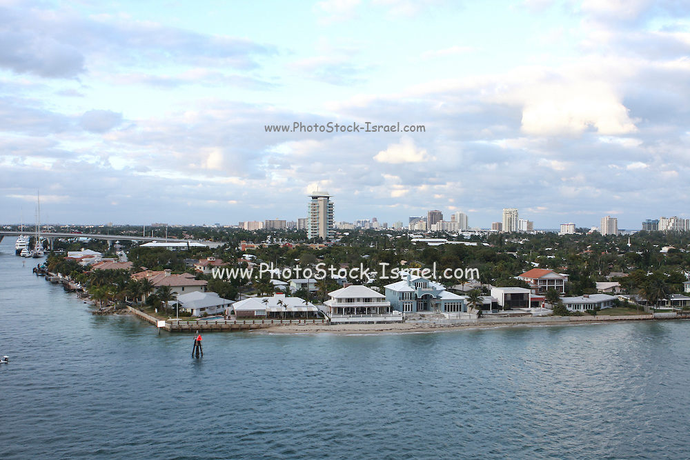 Elevated view of the beach at Fort Lauderdale, Florida, USA.