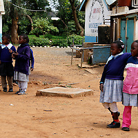 Africa, Kenya, Nanyuki. Girls on the playground of the Nanyuki Children's Home.