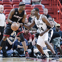 16 March 2010: San Antonio Spurs forward Antonio McDyess defends on Miami Heat center Jermaine O'Neal during the San Antonio Spurs 88-76 victory over the Miami Heat at the AmericanAirlines  Arena, in Miami, Florida, USA.