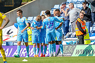Coventry City forward Conor Chaplin (10) celebrates scoring during the EFL Sky Bet League 1 match between Oxford United and Coventry City at the Kassam Stadium, Oxford, England on 9 September 2018.