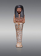 Ancient Egyptian shabtis doll, New Kingdom,. Egyptian Museum, Turin. Grey background. .<br /> <br /> If you prefer to buy from our ALAMY PHOTO LIBRARY  Collection visit : https://www.alamy.com/portfolio/paul-williams-funkystock/ancient-egyptian-art-artefacts.html  . Type -   Turin   - into the LOWER SEARCH WITHIN GALLERY box. Refine search by adding background colour, subject etc<br /> <br /> Visit our ANCIENT WORLD PHOTO COLLECTIONS for more photos to download or buy as wall art prints https://funkystock.photoshelter.com/gallery-collection/Ancient-World-Art-Antiquities-Historic-Sites-Pictures-Images-of/C00006u26yqSkDOM