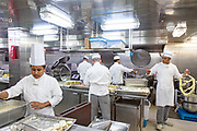 COSTA CROCIERE:. getting ready for dinner at the a la carte restaurant. 200 chefs and 300 waiters have to be ready to serce 4146 meals par day