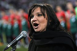 Alenka Gotar singing the Slovenian national anthem at the 8th day qualification game of 2010 FIFA WORLD CUP SOUTH AFRICA in Group 3 between Slovenia and Czech Republic at Stadion Ljudski vrt, on March 28, 2008, in Maribor, Slovenia. Slovenia vs Czech Republic 0 : 0. (Photo by Vid Ponikvar / Sportida)