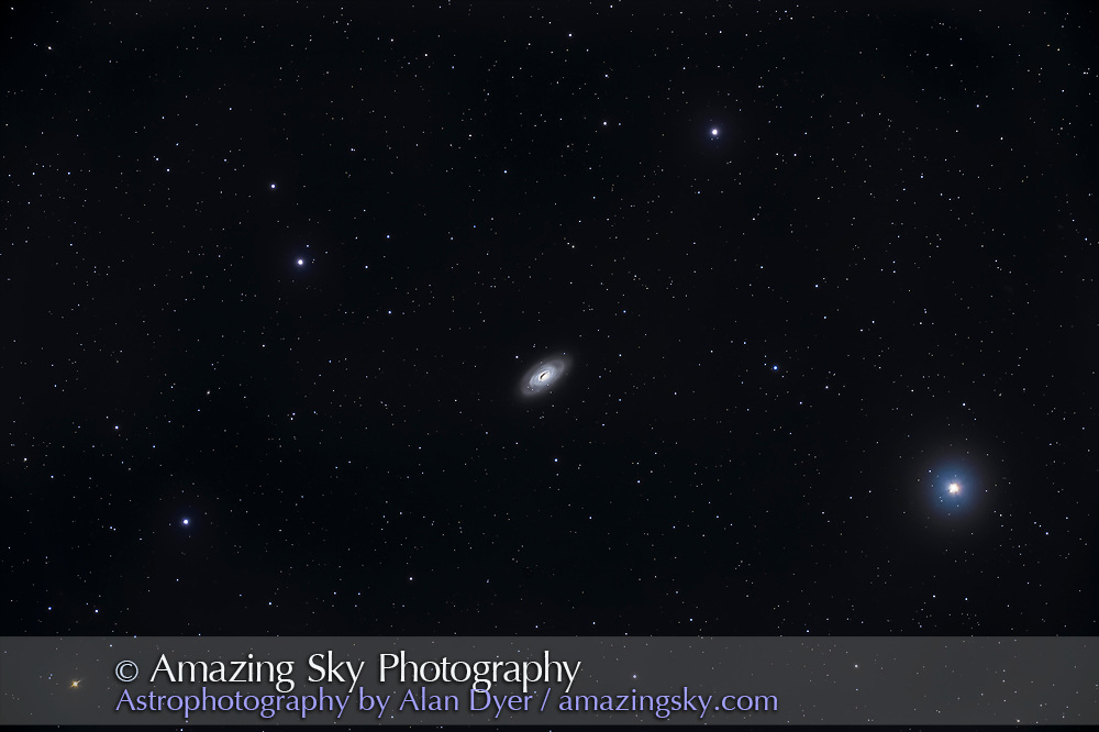 The bright galaxy Messier (M) 64 in Coma Berenices, aka the Black Eye Galaxy from its prominent dark dust lane around the nucleus. <br /> <br /> This is a stack of 16 x 6-minute exposures at ISO 1600 with the Canon EOS Ra through the Astro-Physics 130mm EDF refractor at f/6 with the 6x7 field flattener. Slight haze this night, April 12, 2021, added the star glows. The mount, the AP Mach 1, was autoguided with the MGEN3 autoguider applying a 5-pixel dithering shift between each frame. Alignment and stacking (with Median blend) of exported TIFFs was with Affinity Photo's Astrophotography Stack mode, as Photoshop did fail to accurately align this set, unusual for Photoshop. Development of raws was with Camera Raw, and editing was with Photoshop.