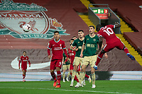 Football - 2020 / 2021 Premier League - Liverpool vs Sheffield United - Anfield<br /> <br /> Liverpool's Sadio Mane heads the ball towards goal<br /> <br /> COLORSPORT/TERRY DONNELLY