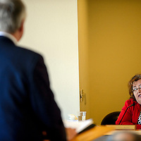 021814  Adron Gardner/Independent<br /> <br /> County Commission Chairperson Carol Bowman-Muskett speaks to RMCH CEO Barry Mousa at the McKinley County Courthouse in Gallup Tuesday.