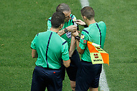 Spanish referee David Fernandez Borbalan have problems with the communication system during Supercup of Spain 2nd match.August 19,2014. (ALTERPHOTOS/Acero)