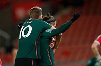 Football - 2020 / 2021 League Cup - Quarter Final - Stoke City vs Tottenham Hotspur - bet365 Stadium<br /> <br /> Harry Kane of Tottenham Hotspur congratulates Gareth Bale of Tottenham Hotspur at Bet365 Stadium<br /> <br /> COLORSPORT/LYNNE CAMERON
