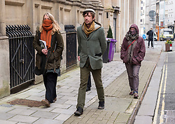 © Licensed to London News Pictures; 02/03/2021; Bristol, UK. RHIAN GRAHAM (left) of The Colston Four leaves Bristol Crown Court after a trial hearing. Defendants Rhian Graham, 29, Milo Ponsford, 25, Jake Skuse, 32, and Sage Willoughby, 21, have been charged with criminal damage in connection with damage to the statue of slave trader Edward Colston which was pulled down during a Black Lives Matter protest on June 7 2020 and then thrown into Bristol Harbour. Photo credit: Simon Chapman/LNP.