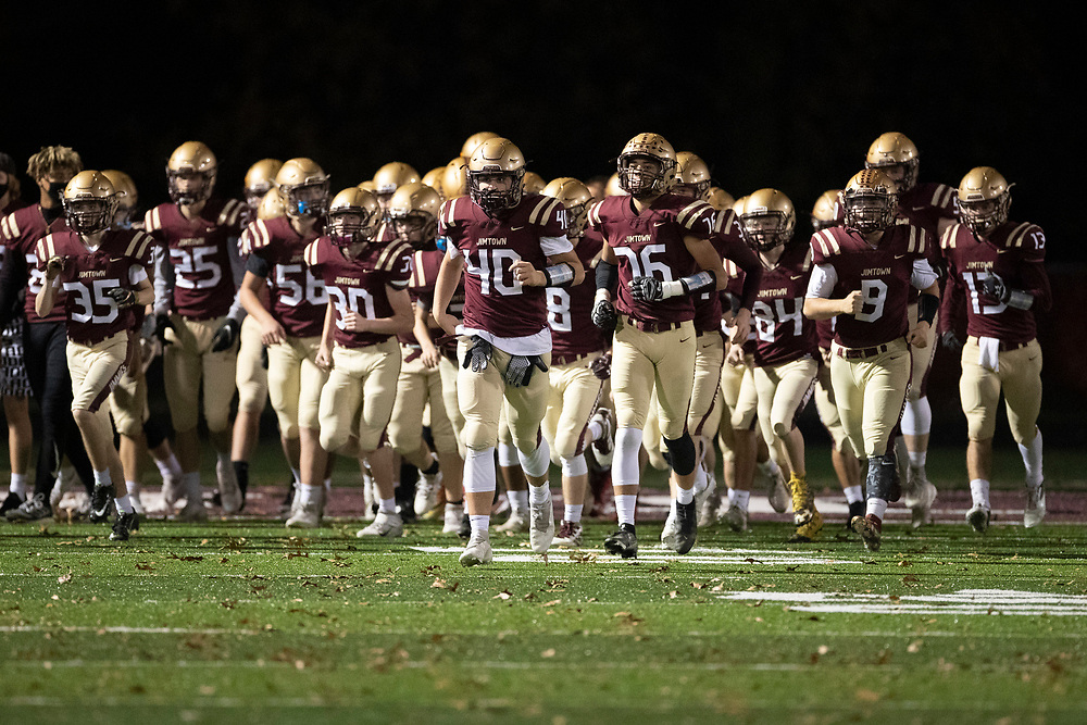 Jimtown players take the field prior to the Marian-Jimtown high school football game on Friday, November 06, 2020, at Knepp Field in Elkhart, Indiana.