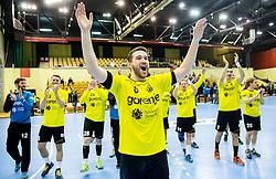 Senjamin Buric of RK Gorenje and other players of Gorenje celebrate after winning during handball match between RK Gorenje Velenje (SLO) and Pfadi Winterthur (SUI) in Group Phase of EHF European Cup 2014/15, on March 8, 2015 in Rdeca dvorana, Velenje, Slovenia. Photo by Vid Ponikvar / Sportida