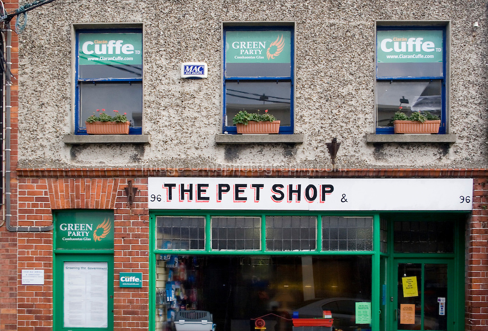 Local Green Party offices over a pet shop in Dun Laoghaire in Dublin Ireland