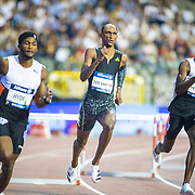 BRUSSELS, BELGIUM:  September 3:  Jaheel Hyde of Jamaica, Alison Dos Santo of Brazil and Kyron McMaster of the British Virgin Islands in action in the 400m hurdles for men during the Wanda Diamond League 2021 Memorial Van Damme Athletics competition at King Baudouin Stadium on September 3, 2021 in  Brussels, Belgium. (Photo by Tim Clayton/Corbis via Getty Images)